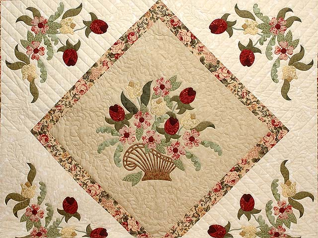 King Burgundy Moss Green and Tan Spring Basket quilt Photo 3