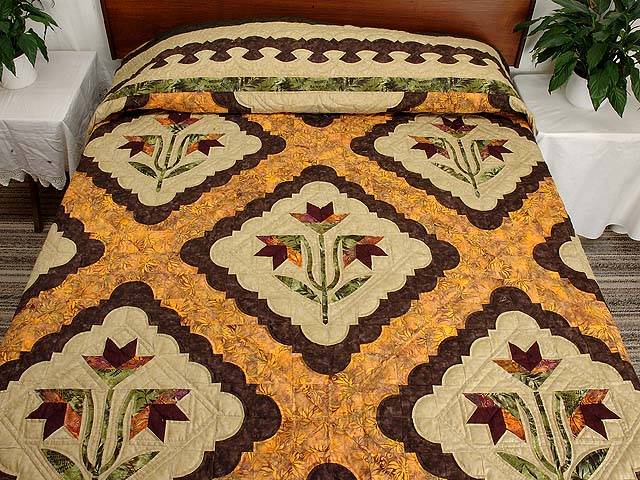 King Green Brown and Ocher Roxanne Quilt Photo 1