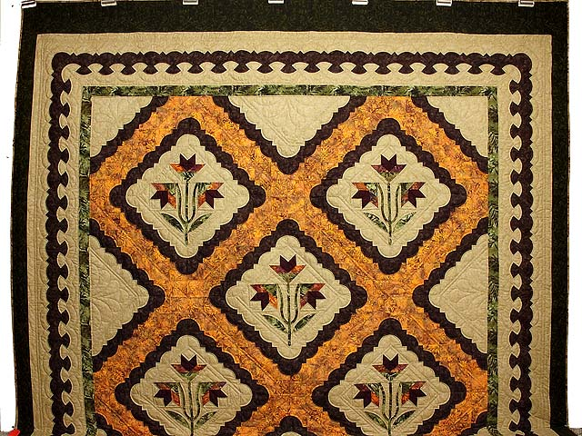 King Green Brown and Ocher Roxanne Quilt Photo 2