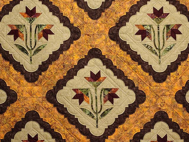 King Green Brown and Ocher Roxanne Quilt Photo 3
