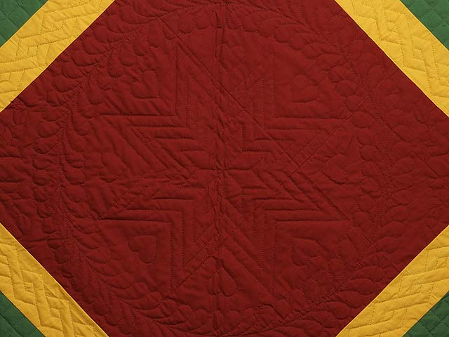 Extra Fine Midwestern Amish Colors Center Diamond Quilt Photo 4