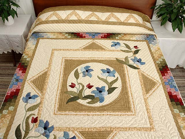 King Gold Blue and Burgundy Rainbow Reflections Quilt Photo 1