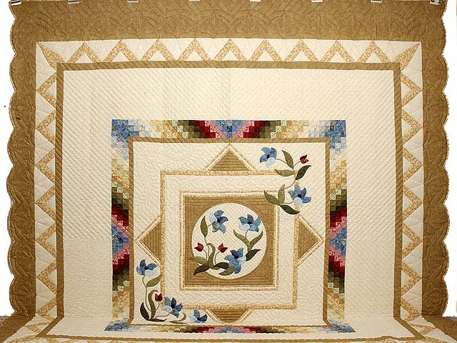 King Gold Blue and Burgundy Rainbow Reflections Quilt Photo 2