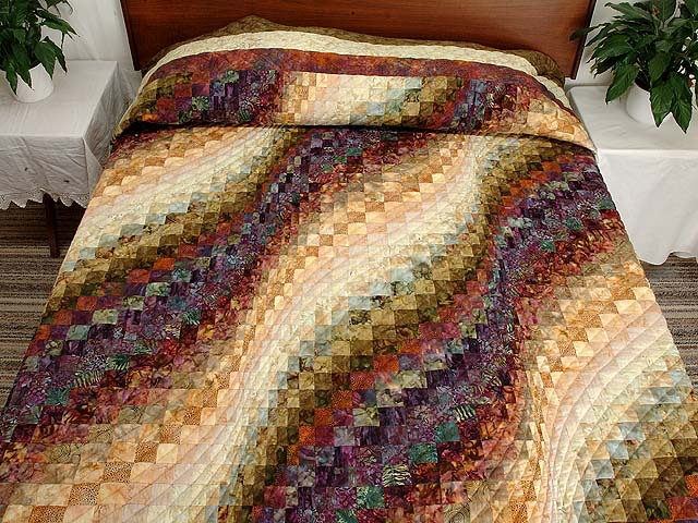 King Moss Plum and Willow Hand Painted Bargello Wave Quilt Photo 1