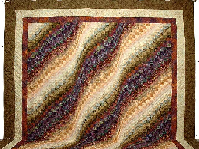 King Moss Plum and Willow Hand Painted Bargello Wave Quilt Photo 2