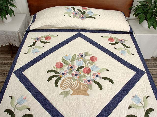 Navy Blue and Rose Spring Basket Quilt Photo 1