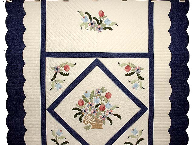 Navy Blue and Rose Spring Basket Quilt Photo 2