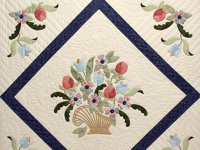 Navy Blue and Rose Spring Basket Quilt Photo 3