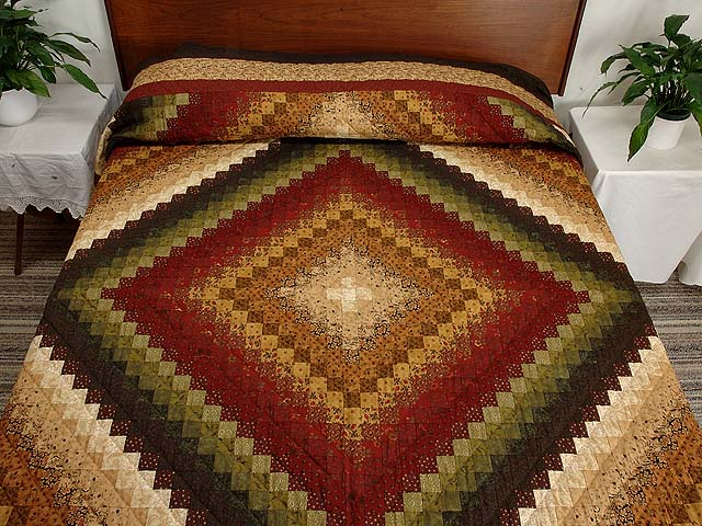 Green Wheat and Burgundy Color Splash Quilt Photo 1