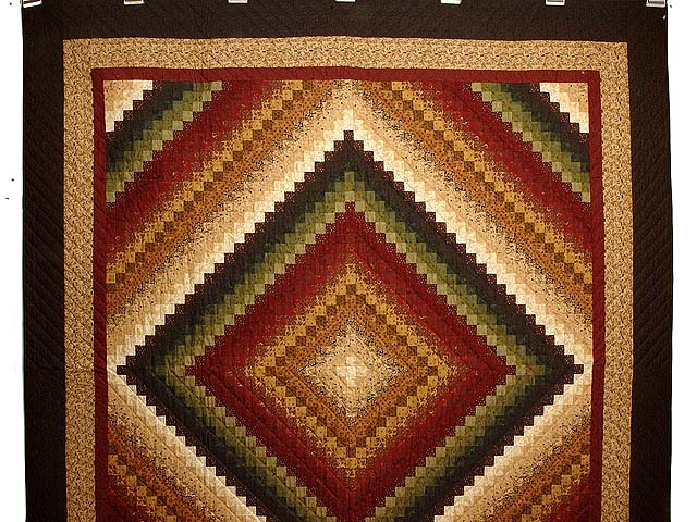 Green Wheat and Burgundy Color Splash Quilt Photo 2