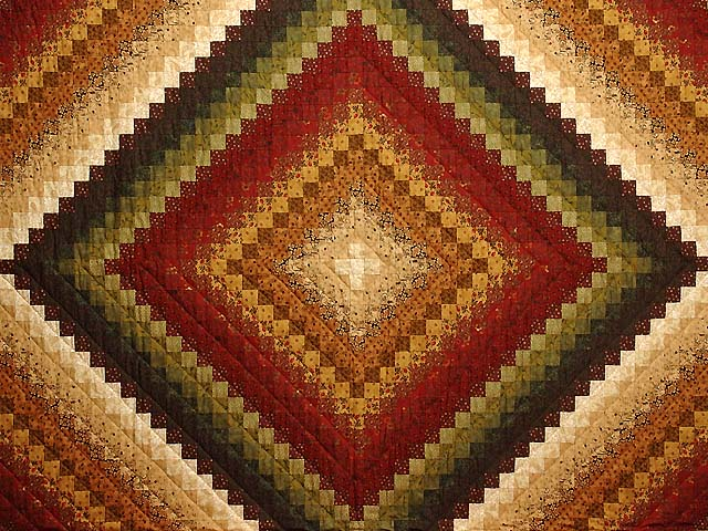 Green Wheat and Burgundy Color Splash Quilt Photo 3