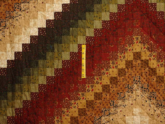 Green Wheat and Burgundy Color Splash Quilt Photo 4