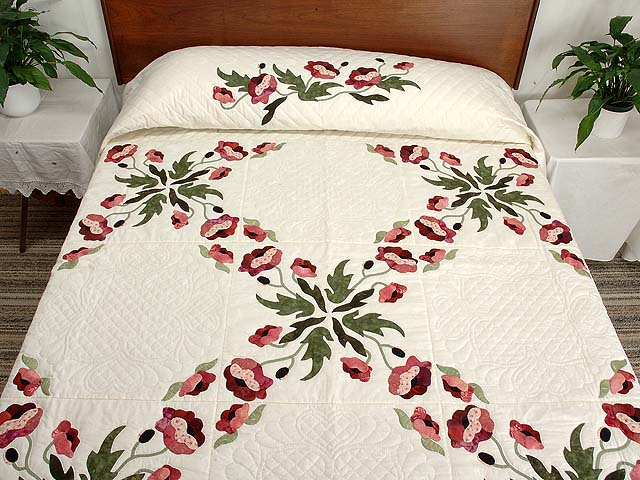 Mint Green and Rose Poppy Field Quilt Photo 1