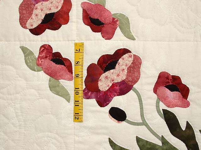 Mint Green and Rose Poppy Field Quilt Photo 5