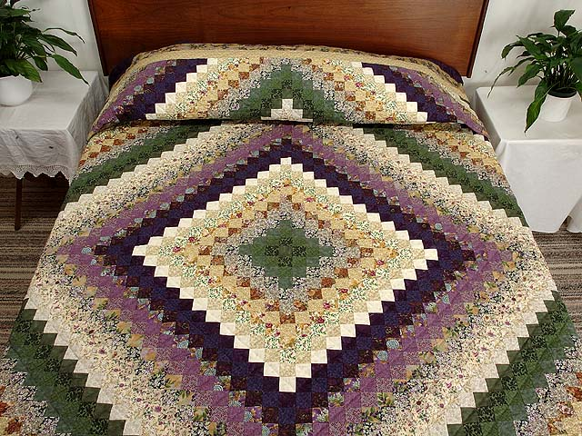 Lavender and Green Trip Around the World Quilt Photo 1