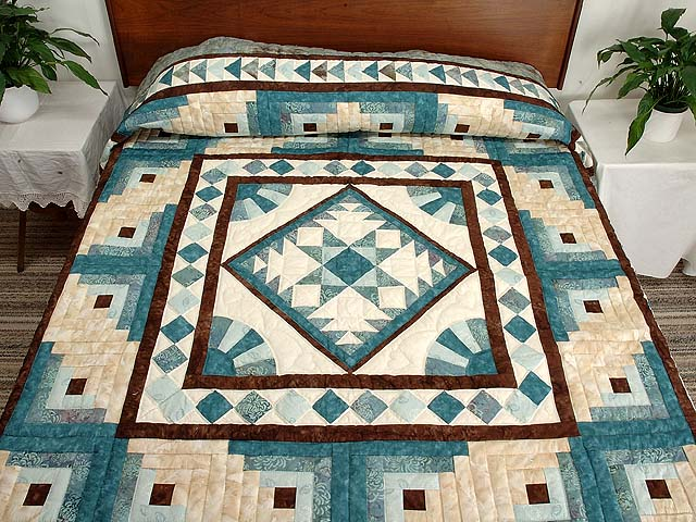 Teal and Brown Flying Geese Log Cabin Medallion Quilt Photo 1