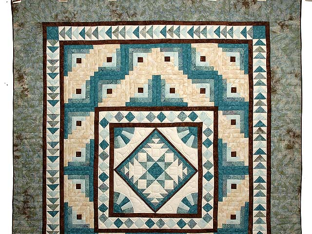 Teal and Brown Flying Geese Log Cabin Medallion Quilt Photo 2