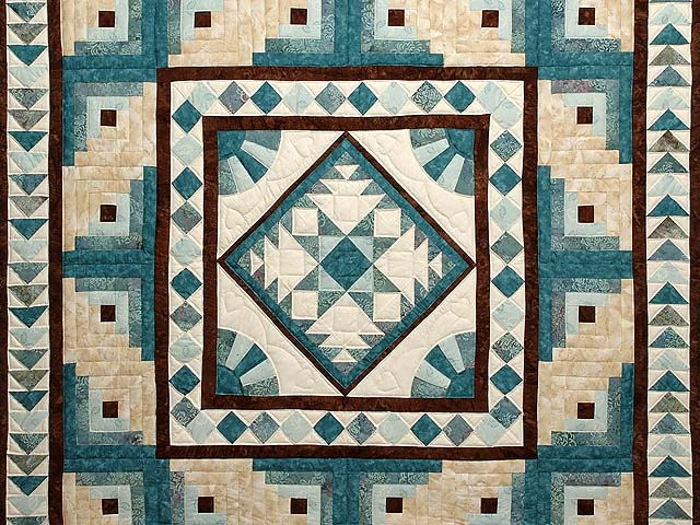 Teal and Brown Flying Geese Log Cabin Medallion Quilt Photo 3