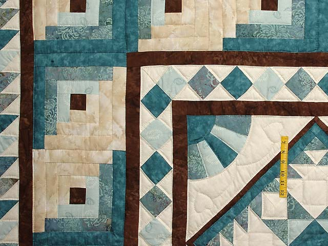 Teal and Brown Flying Geese Log Cabin Medallion Quilt Photo 4