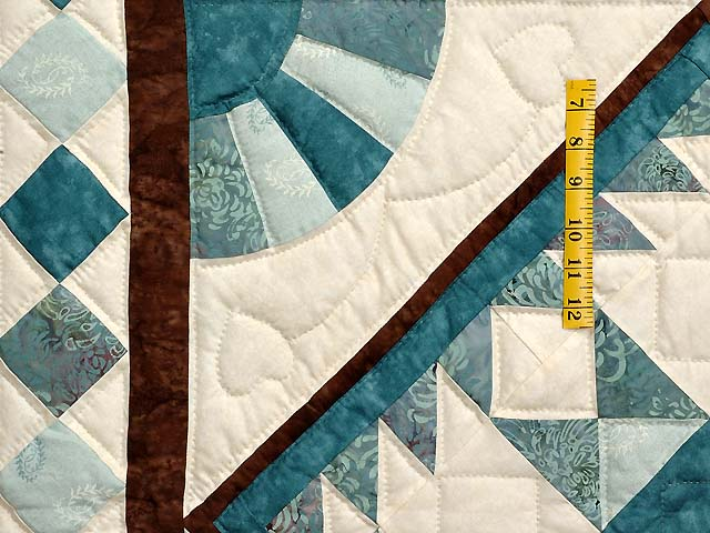Teal and Brown Flying Geese Log Cabin Medallion Quilt Photo 5