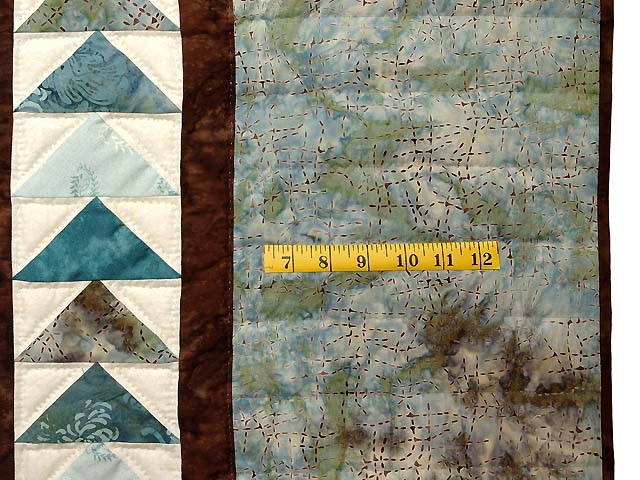 Teal and Brown Flying Geese Log Cabin Medallion Quilt Photo 7