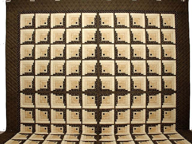 King Black and Gold Off Center Log Cabin Quilt Photo 2