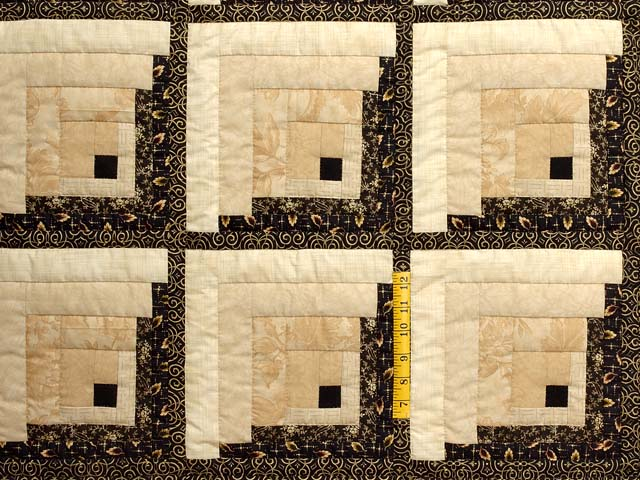King Black and Gold Off Center Log Cabin Quilt Photo 4