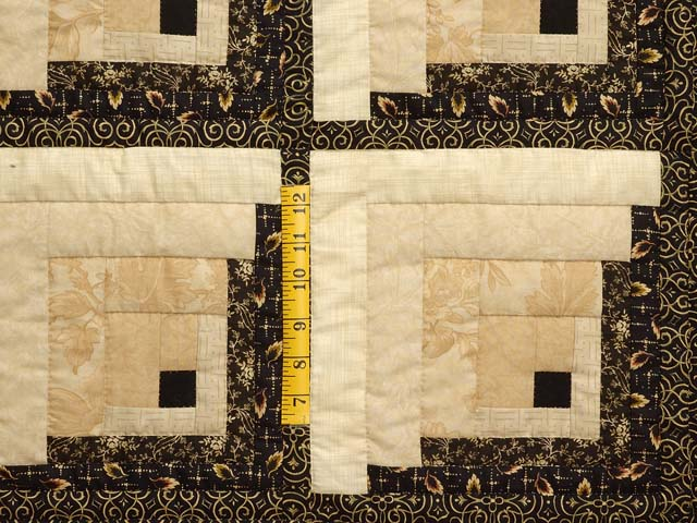 King Black and Gold Off Center Log Cabin Quilt Photo 5
