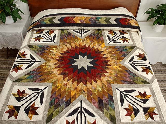 Tan Moss Gold and Multi  Flowering Star Quilt Photo 1