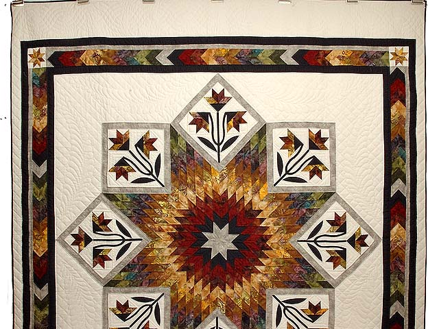 Tan Moss Gold and Multi  Flowering Star Quilt Photo 2