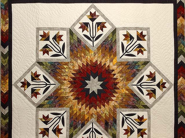 Tan Moss Gold and Multi  Flowering Star Quilt Photo 3
