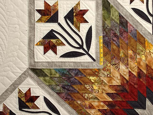 Tan Moss Gold and Multi  Flowering Star Quilt Photo 4
