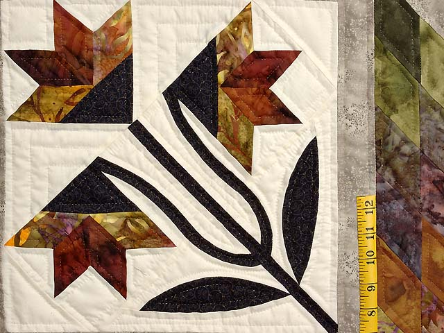 Tan Moss Gold and Multi  Flowering Star Quilt Photo 5
