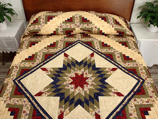 King Tan Navy Green and Burgundy Lone Star Log Cabin Quilt Photo 1