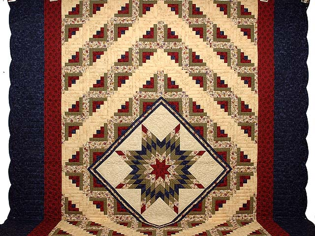 King Tan Navy Green and Burgundy Lone Star Log Cabin Quilt Photo 2