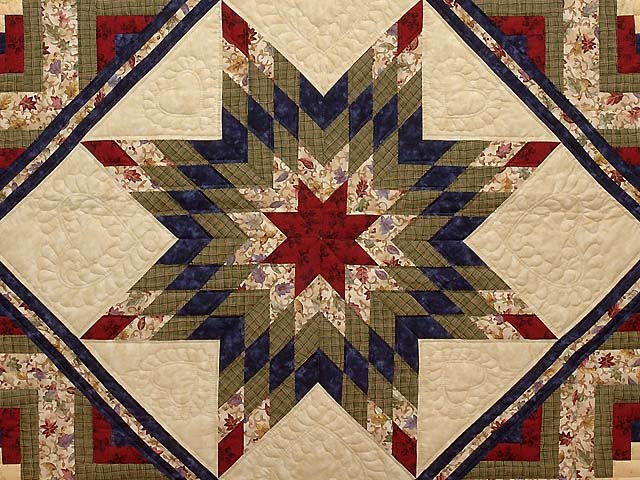 King Tan Navy Green and Burgundy Lone Star Log Cabin Quilt Photo 3