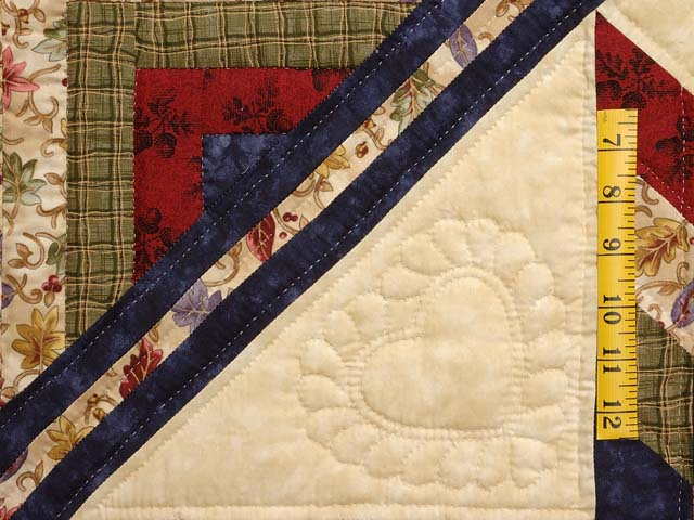 King Tan Navy Green and Burgundy Lone Star Log Cabin Quilt Photo 5
