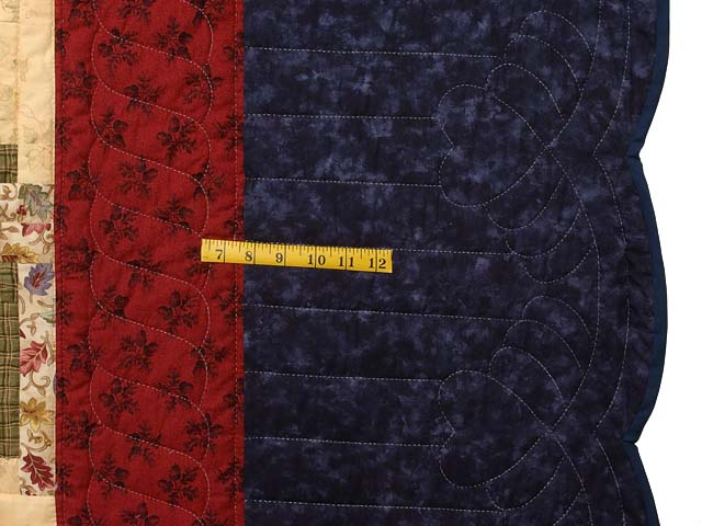 King Tan Navy Green and Burgundy Lone Star Log Cabin Quilt Photo 7
