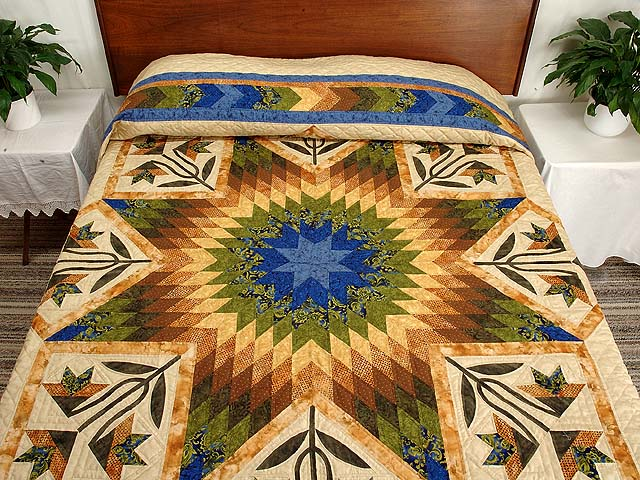 Blue Gold and Green Flowering Star Quilt Photo 1