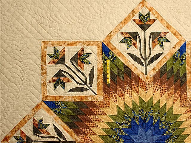 Blue Gold and Green Flowering Star Quilt Photo 4