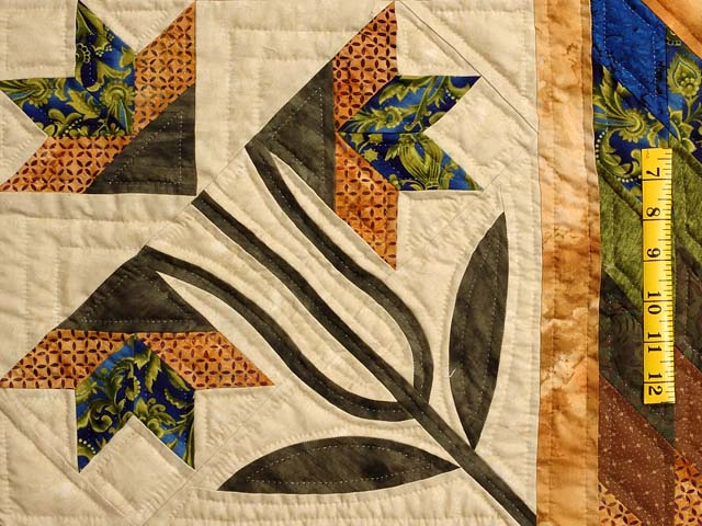 Blue Gold and Green Flowering Star Quilt Photo 5