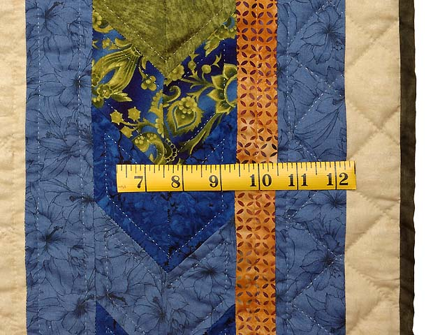 Blue Gold and Green Flowering Star Quilt Photo 7
