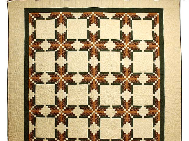 Green Brown and Tan Nordic Star Quilt Photo 2