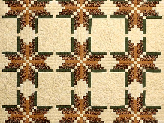 Green Brown and Tan Nordic Star Quilt Photo 3