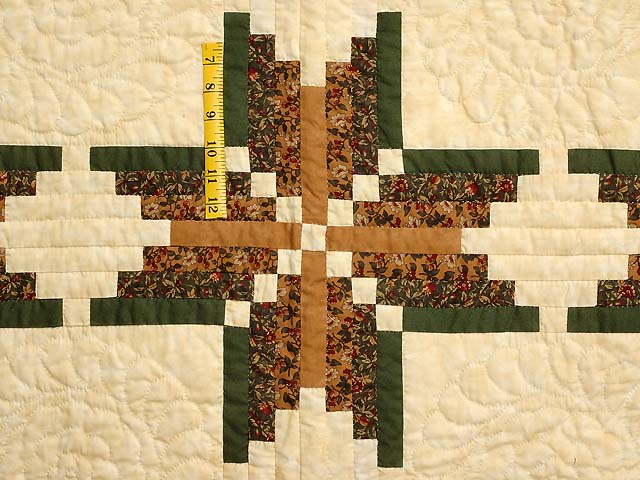 Green Brown and Tan Nordic Star Quilt Photo 4