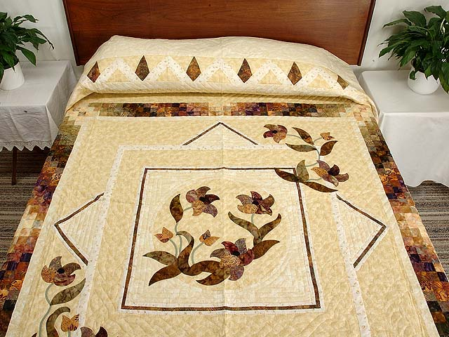 Neutrals Gold and Plum Rainbow Reflection Quilt Photo 1