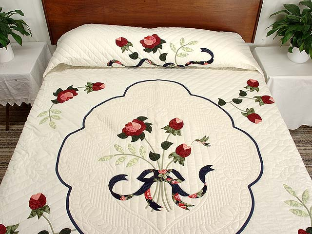 King Navy and Rose Lancaster Treasures Quilt Photo 1