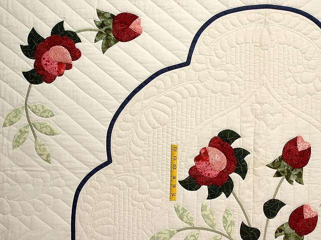 King Navy and Rose Lancaster Treasures Quilt Photo 4