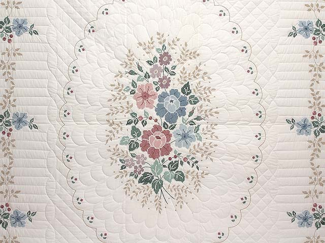Cross Stitch Floral Bouquet Quilt Photo 3