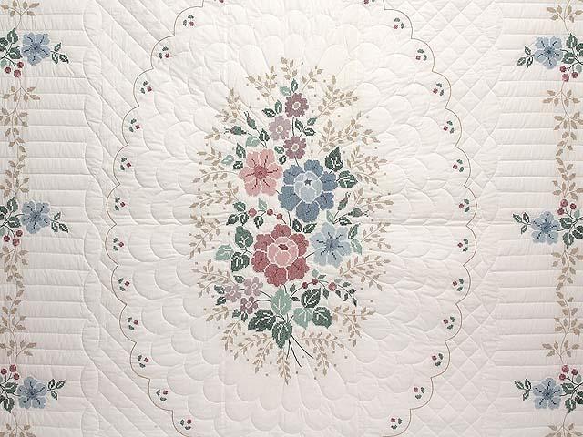 Cross Stitch Floral Bouquet Quilt Photo 3